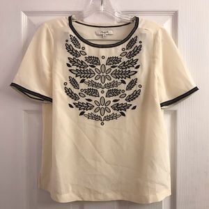 Madewell Cream Silk Embroidered Top Size XS